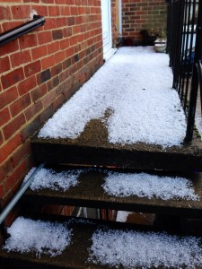 Hailstones on stairs